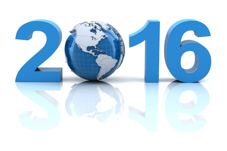 time of the year: New year 2016 with globe, 3d render Stock Photo