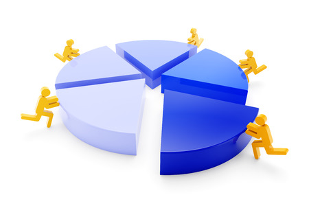 work together: Pie chart with team of workers, 3d render Stock Photo