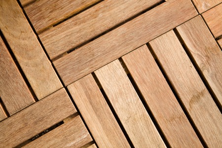 Close-up view of outdoor wooden decking tiles
