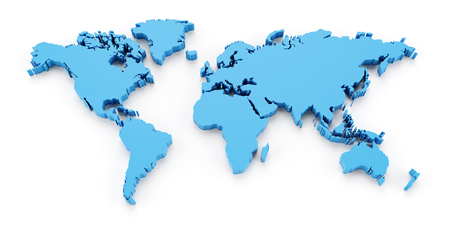 Detail world map, 3d render, white background Stockfoto