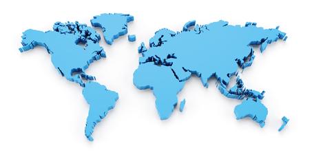 Detail world map, 3d render, white background Archivio Fotografico