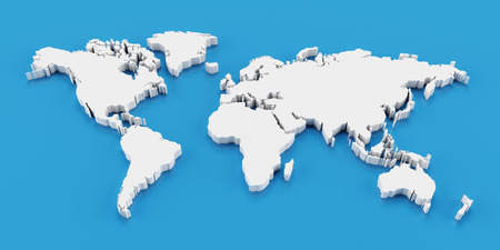 Detail white world map, 3d render, blue background Zdjęcie Seryjne