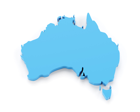 3d shape: Extruded map of Australia, 3d render, white background