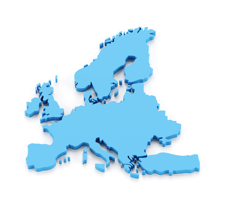 extruded: Extruded map of Europe, 3d render, white background Stock Photo