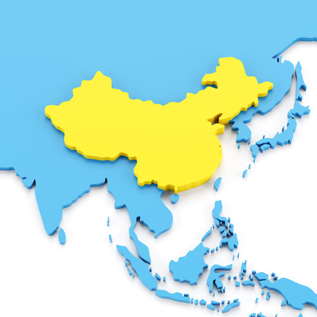 yellow china: Map with China in yellow, 3d render