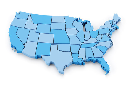 map of usa: Map of USA with state borders, 3d render Stock Photo