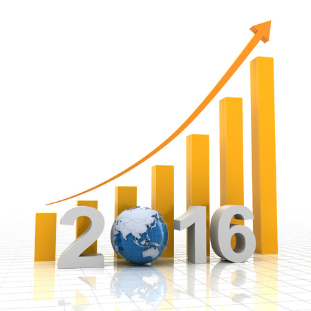 year increase: Chart for 2016 showing growing trend, 3d render