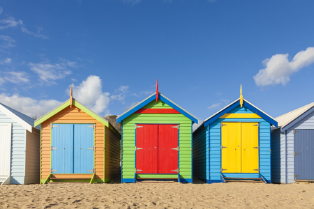 hut: Bathing boxes in a beach against blue sky with copyspace