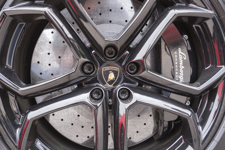 lamborghini: Melbourne, Australia - Oct 23, 2015: Close-up view of the wheel of Lamborghini on public display in a car show Editorial