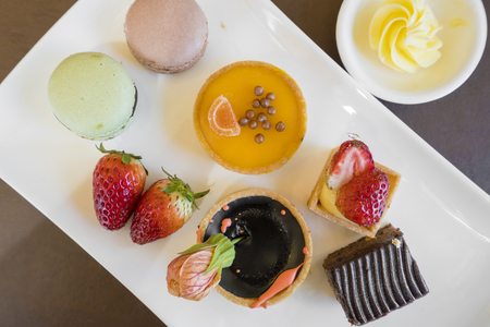 afternoon tea: Variety of desserts in buffet, top-down view Stock Photo