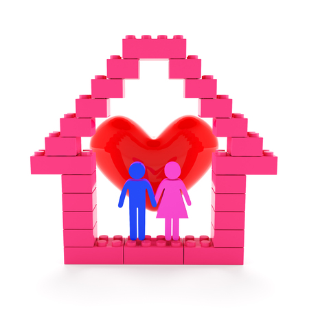 happy couple at home: House with couple and heart, 3d render Stock Photo