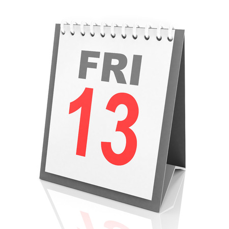 13: 3d render of calendar showing Friday the 13th Stock Photo