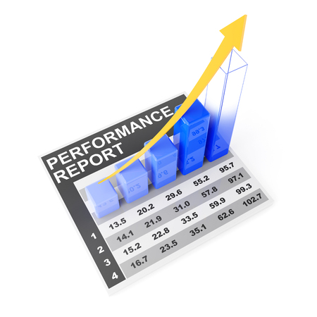 forecasting: Growth chart forecasting future performance, 3d render, white background