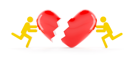 repairing: 3d figures repairing a broken heart, white background Stock Photo