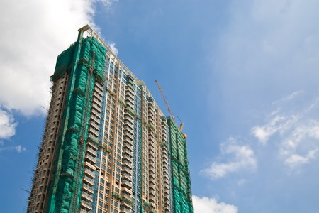 residential construction: Residential building under construction in Hong Kong
