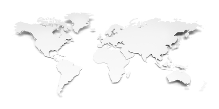 Detail world map with national borders 3d render white background paper world map against white background 3d render photo gumiabroncs Image collections