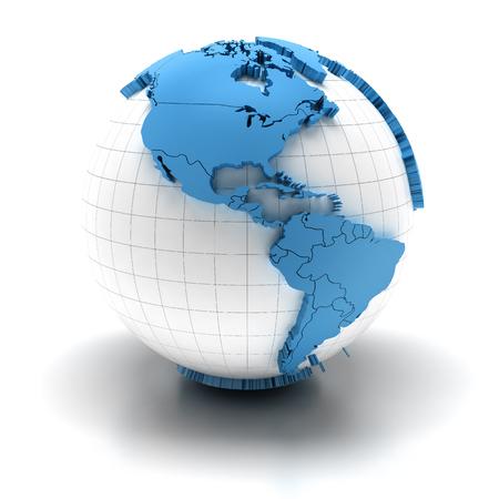 america del sur: Globo con los continentes extruidos y las fronteras nacionales, las regiones Norte y Sur América
