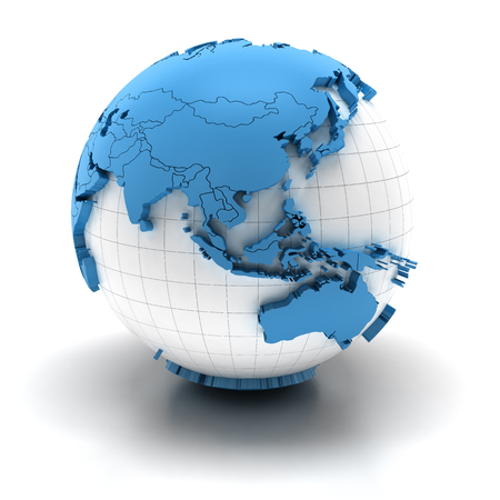 Globe with extruded continents and national borders, Asia and Australia regions Stok Fotoğraf