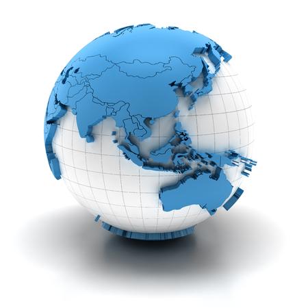 Globo con los continentes extruidos y las fronteras nacionales, las regiones de Asia y Australia Foto de archivo