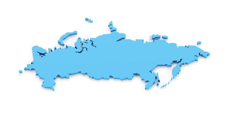 russia map: Map of Russia, 3d render, white background Stock Photo