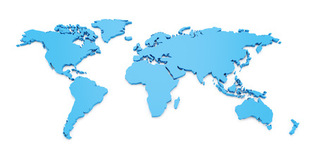the map of the world: Detail world map, 3d render, white background Stock Photo