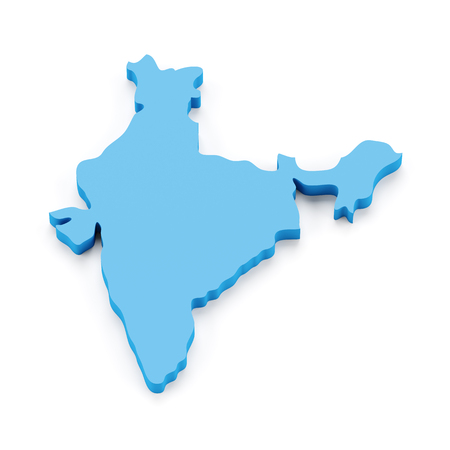india 3d: Map of India, 3d render, white background Stock Photo
