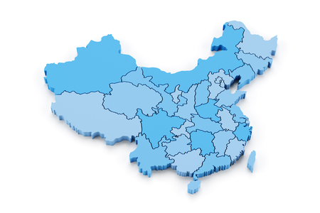 Map of China with provinces, 3d render