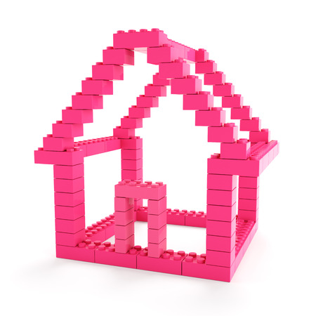 construct: Generic toy blocks forming a house, 3d render