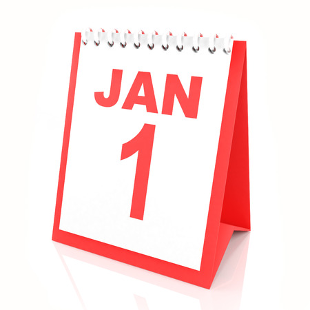 1 january: New year calendar showing january 1, 3d render
