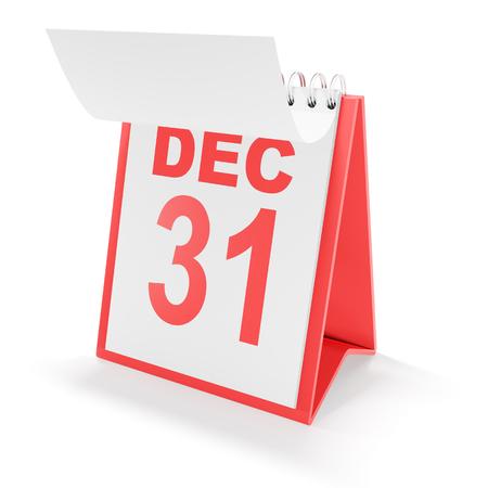 december 31: Calendar showing december 31, 3d render, white background Stock Photo