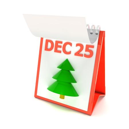25 december: Calendar showing december 25, 3d render, white background