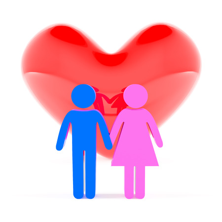 woman male: Couple holding hands and heart shape, 3d render