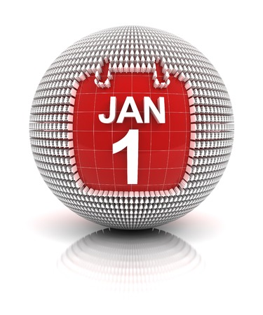new years day: New years day icon, 3d render, white background