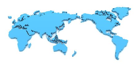 Extruded World Map D Render White Background Stock Photo - Asian to us on world map
