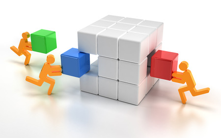 complete solution: Fitting missing pieces of a puzzle cube, 3d render