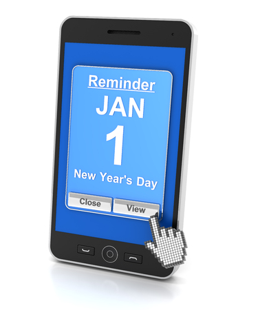 new years day: Smartphone reminder for New Years Day, 3d render, white background