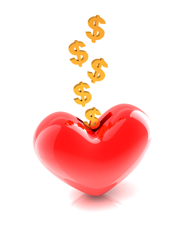 coin bank: 3d render of dollar signs falling into a heart shaped coin bank Stock Photo
