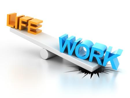 render: Work life balance concept, 3d render, white background