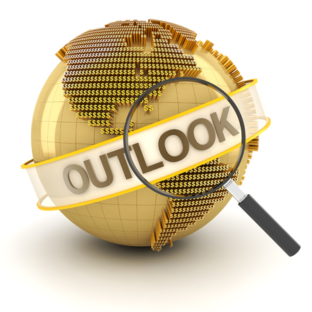 outlook: Global financial outlook symbol with globe, 3d render, white background