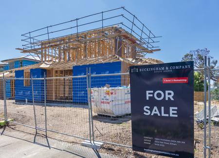 housebuilding: Melbourne, Australia - Nov 15, 2015: New houses under construction for sale in a suburb in Melbourne, Australia