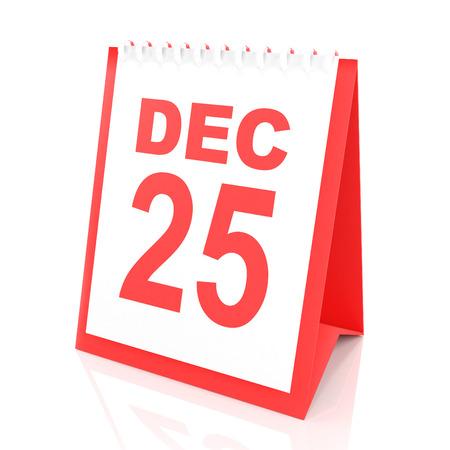 25: Calendar showing december 25, 3d render, white background