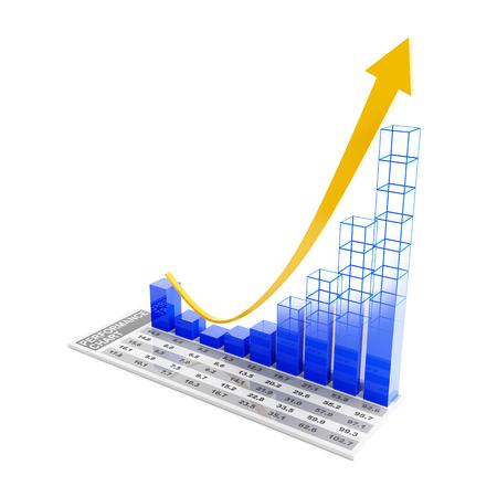 rebound: Performance chart showing future rebound trend, 3d render, white background