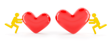 two hearts together: 3d characters pushing two hearts together, white background