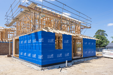 housebuilding: Melbourne, Australia - Nov 15, 2015: Houses under construction in a suburb in Melbourne, Australia Editorial