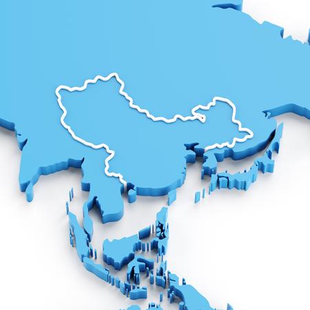 mapa de china: mapa extruido de la región de China y Asia, 3d