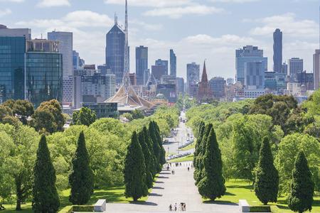 australia day: Melbourne, Australia - Nov 7, 2015: Skyline in downtown Melbourne, Australia during daytime