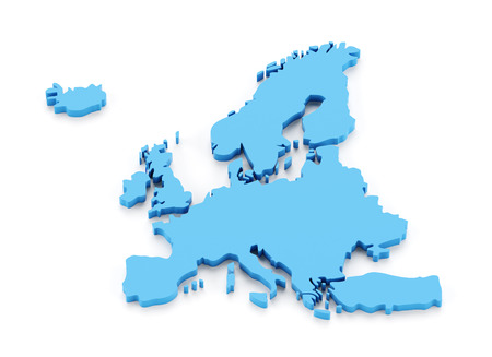 germany: Extruded map of Europe, 3d render, white background Stock Photo