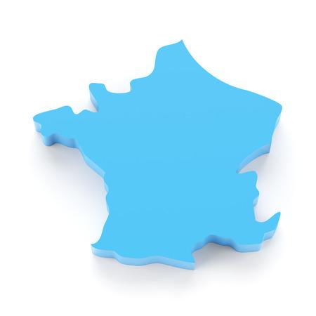 render: Map of France, 3d render, white background