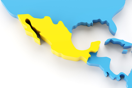 mexico map: Map of Mexico highlighted in yellow, 3d render Stock Photo