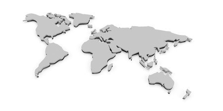 extruded: Extruded world map, 3d render, white background